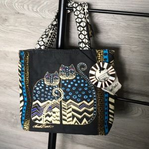 NWT-Laurel Burch Black/Blue Polka Dots Cats Bag